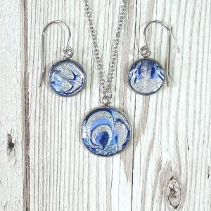 Blue and Silver Swirls Set